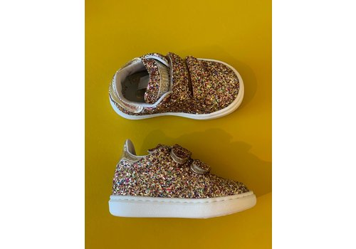 Gallucci All over glitter sneakers met klittenband goud detail
