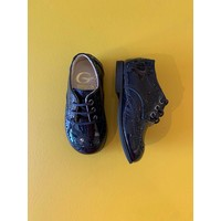 Lace-up lacquer dark navy shoes