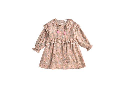 Louise Misha Dress Eforie Khaki Folk Flowers