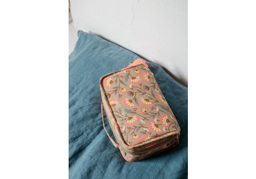 Louise Misha Toiletry Bag Mohea Khaki Folk Flowers