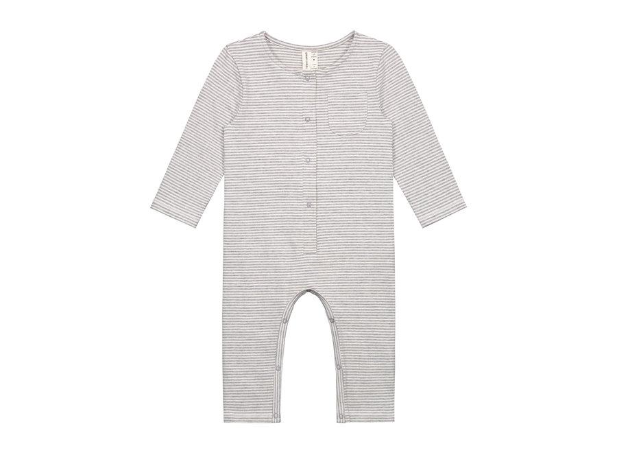 Baby L/S Playsuit Grey Melange/Cream