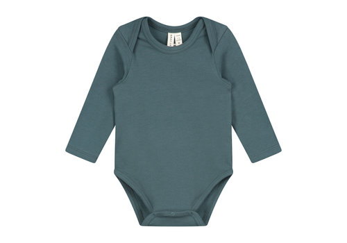 Gray Label Baby L/S Onesie Blue Grey