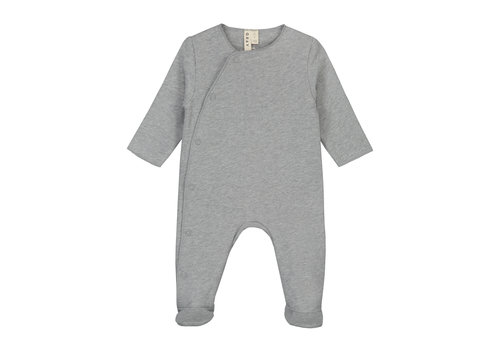 Gray Label Newborn Suit with Snaps Grey Melange