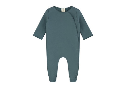 Gray Label Newborn Suit with Snaps Blue Grey