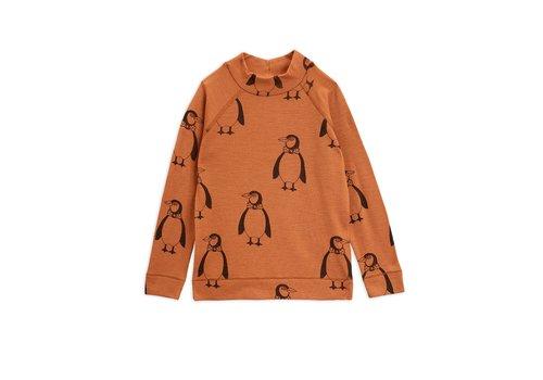 Mini Rodini Penguin wool ls tee Brown