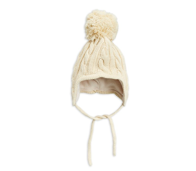 Cable knitted baby hat Offwhite