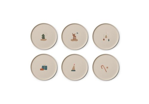 Liewood Patrick bamboo plate 6-pack Holiday mix