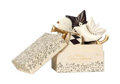 Maileg Ornament box, Metal 6 ass. - A nthracite/Gold