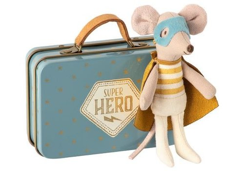 Maileg Superhero mouse, Little brothe r in suitcase