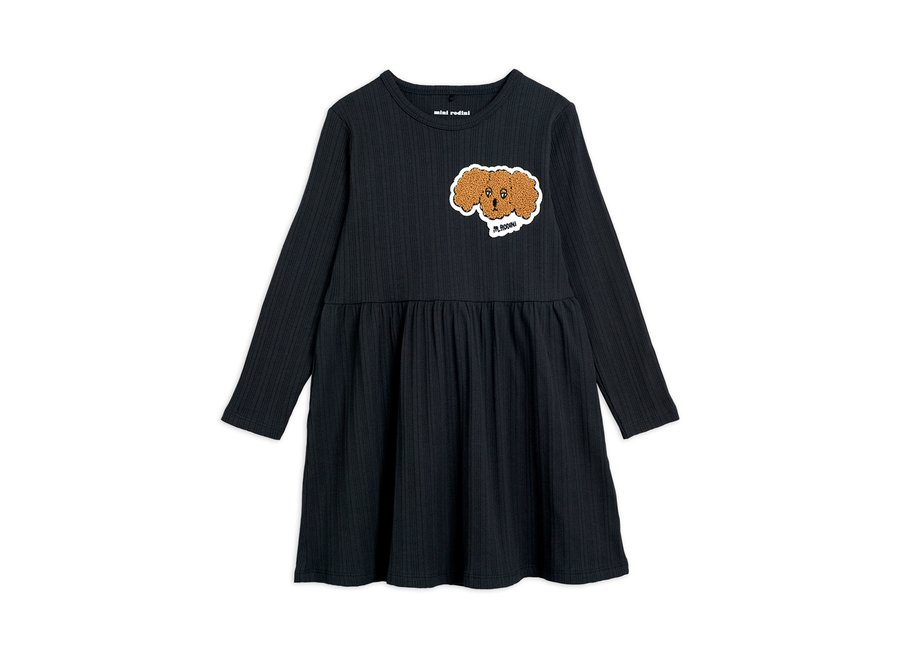 Fluffy Dog Patch Ls Dress Black