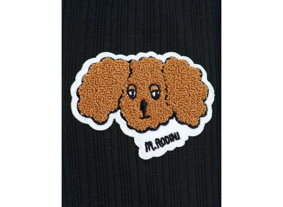 Fluffy Dog Patch Leggings Black