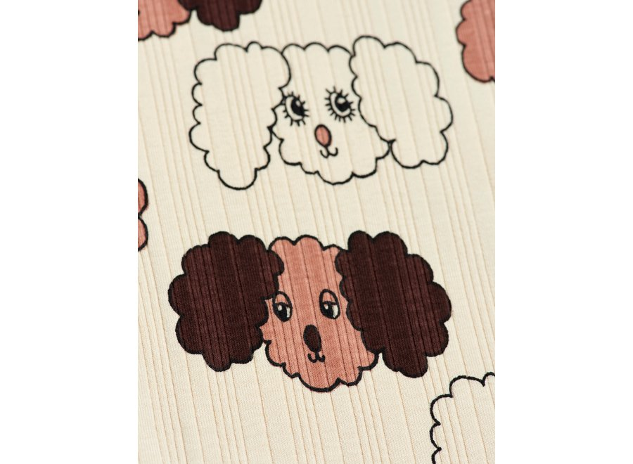 Fluffy Dog Aop Leggings Beige