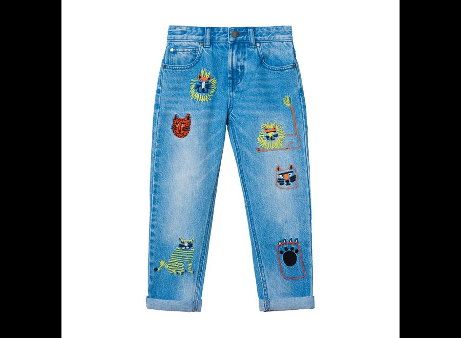Denim Trs Wild Cats Embro Medium Blu Denim