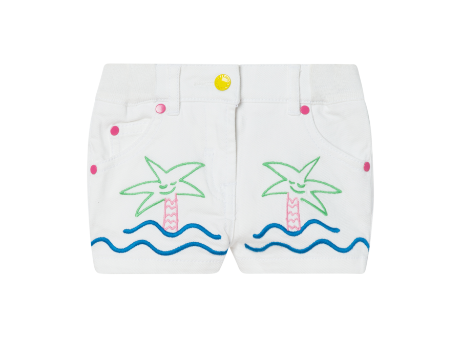 Denim Shorts W/Palms&Sea Embro Pure White