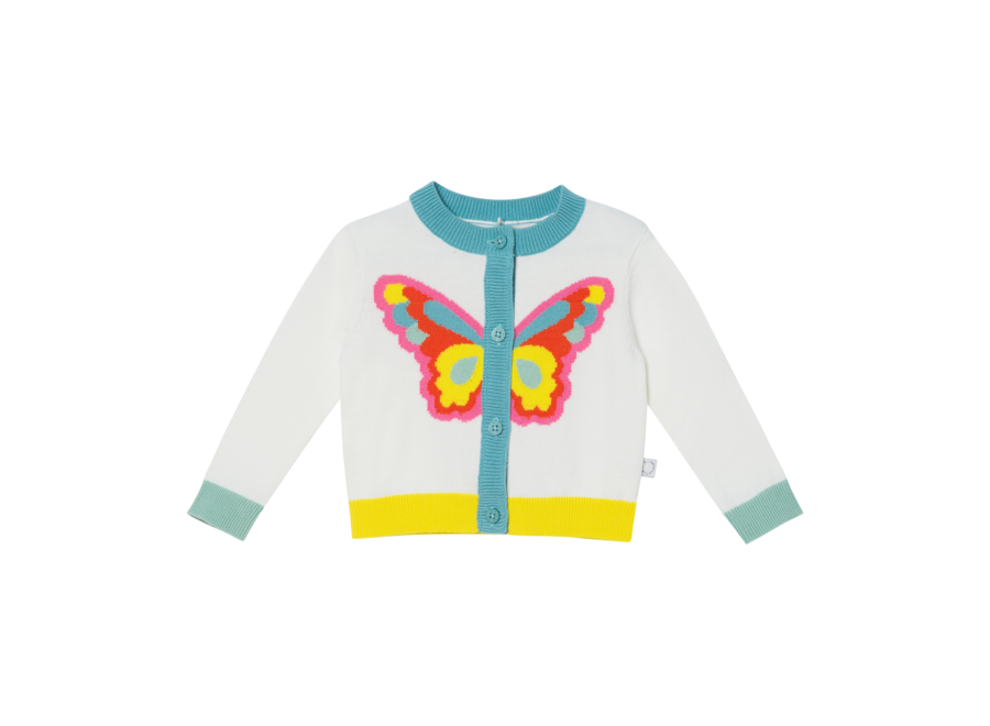 Cardigan W/Intarsia Butterfly Off White