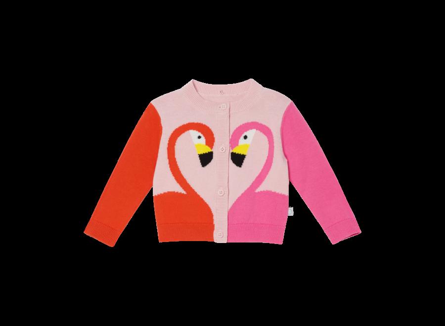Cardigan W/Intarsia Flamingo Powder