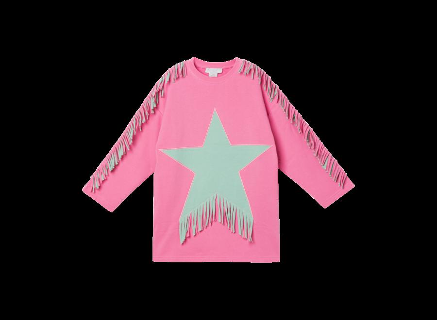 Fleece Dress W/Fringes & Star Sugar Pink