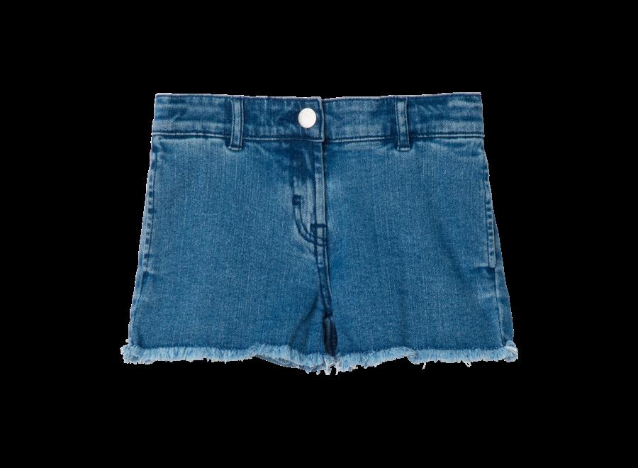 Denim Shorts W/Butterfly Pat Denim Dark Blue