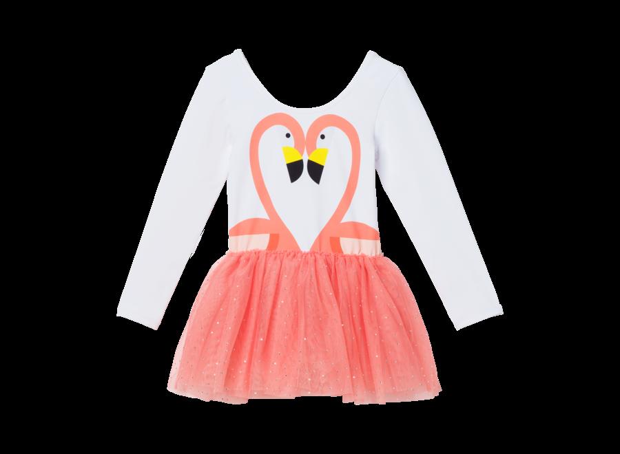 Dress W/Flamingo Pr Pure White