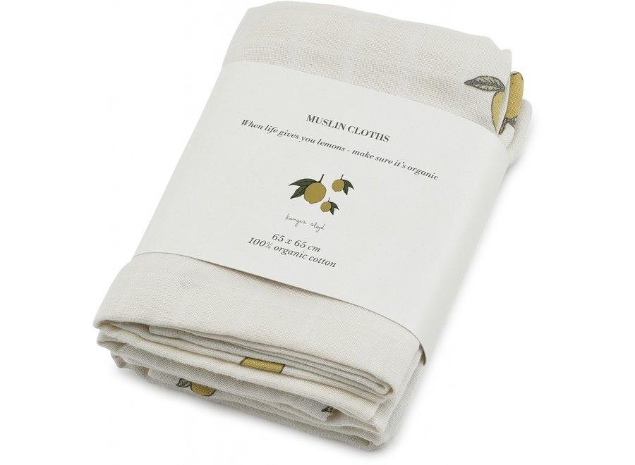 3 Pack Muslin Cloth Lemon