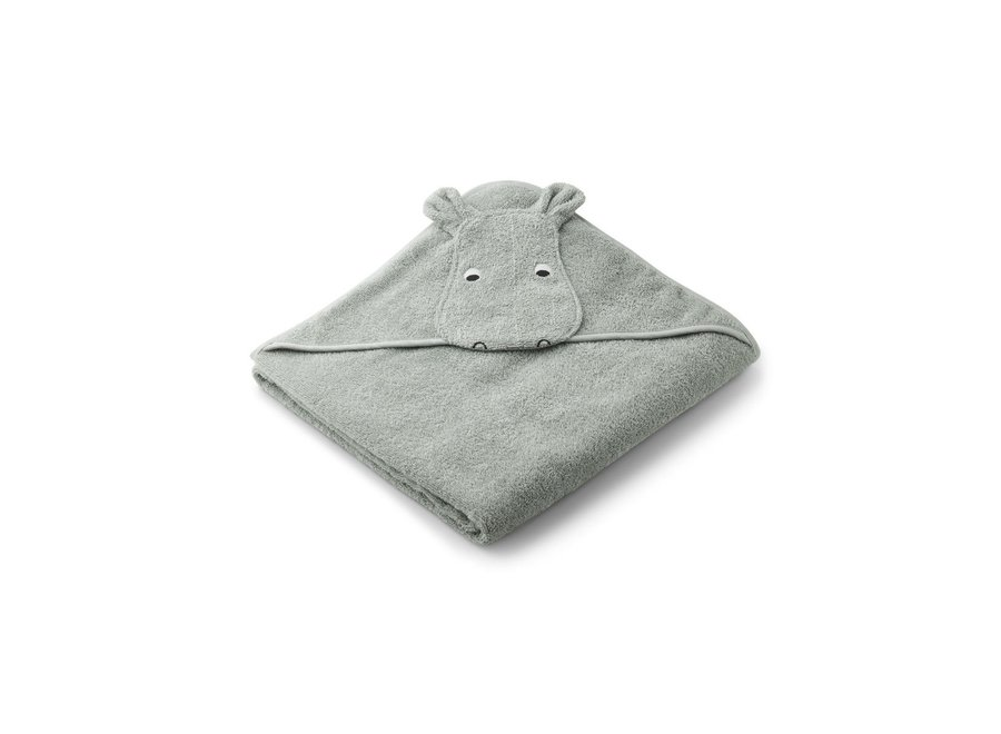 Augusta hooded towel Hippo dove blue