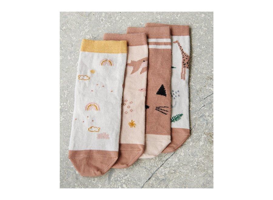 Silas cotton socks - 4 pack Safari rose mix