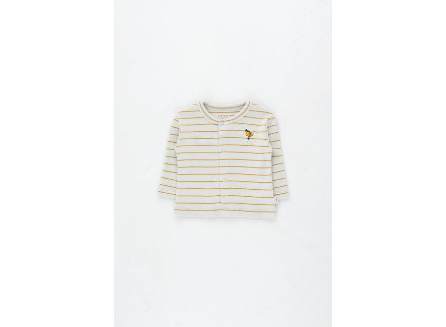 Bird Stripes Baby Cardigan light blue grey/honey