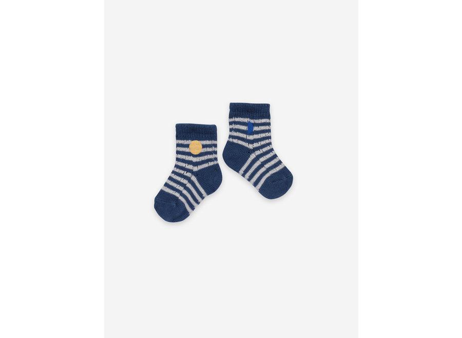 Blue Stripes Baby Socks Galaxy Blue