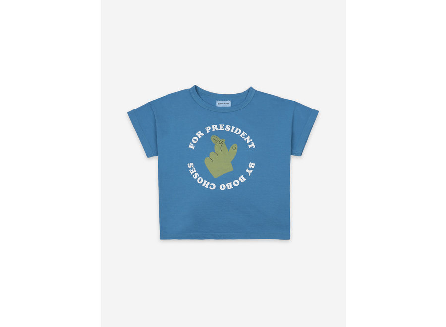 Fingers Crossed Short Sleeve T-Shirt Swedish Blue