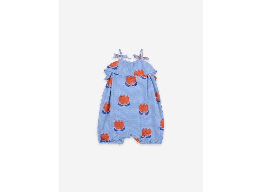 Chocolate Flowers All Over Woven Romper Powder Blue