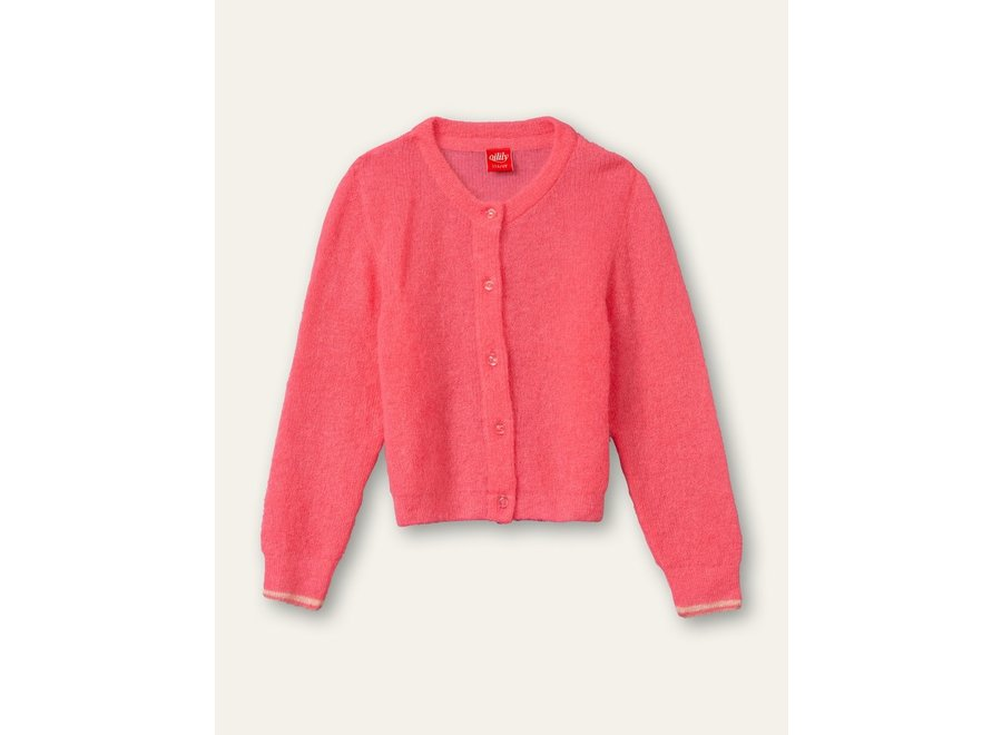 Knot cardigan solid knit hot coral