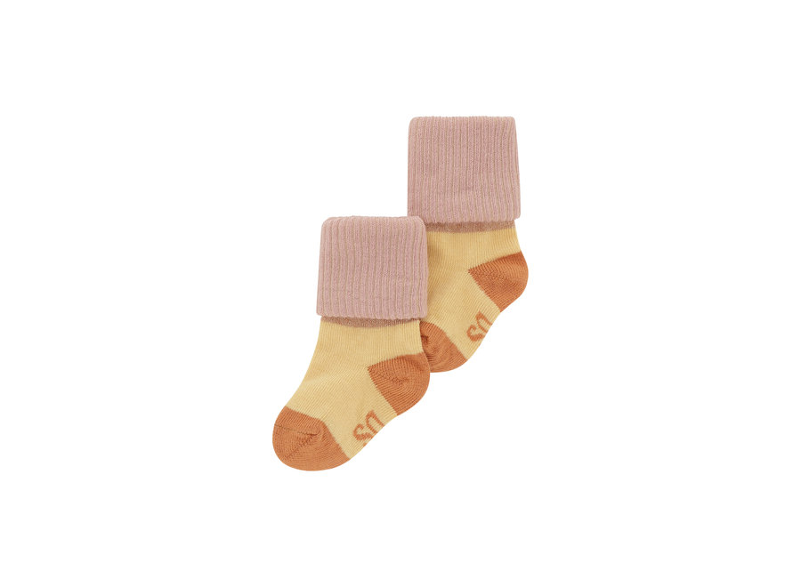 Baby Girl Socks Beige, Blockcolor