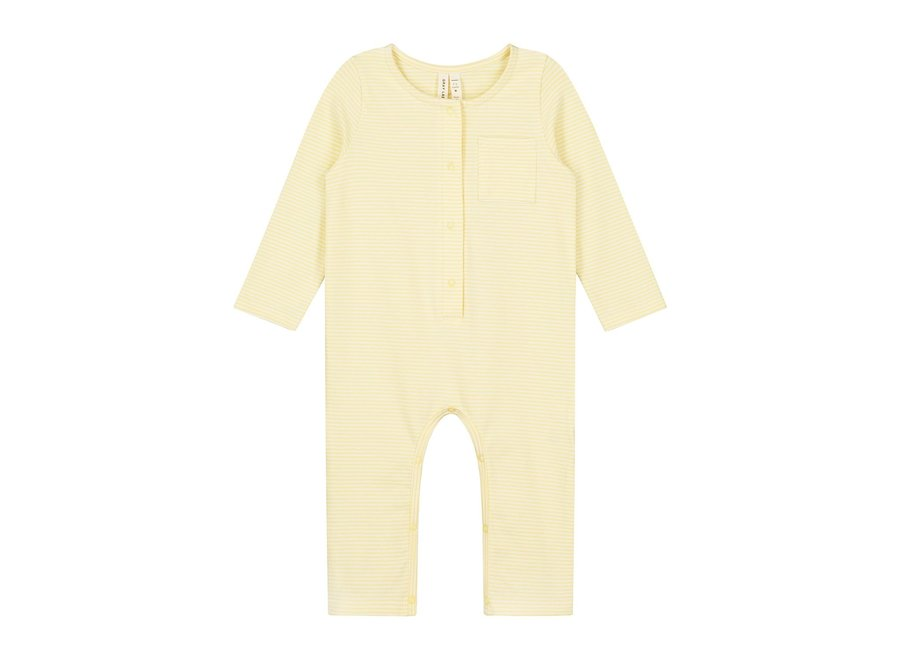Baby L/S Playsuit Mellow Yellow/Cream
