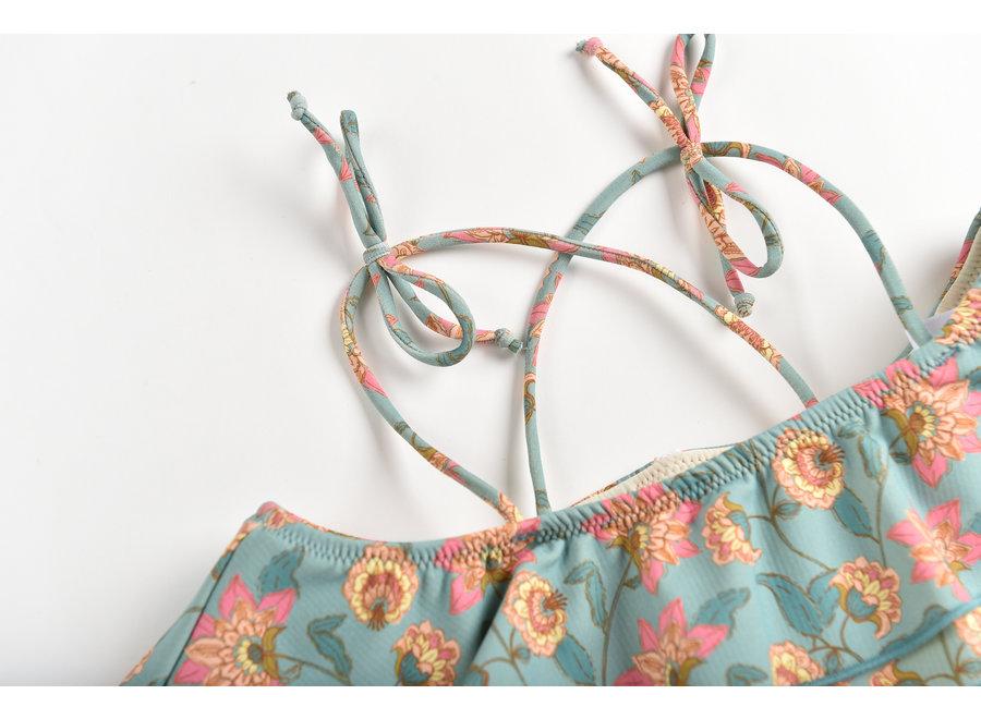 Bikini Zacata Turquoise Flowers