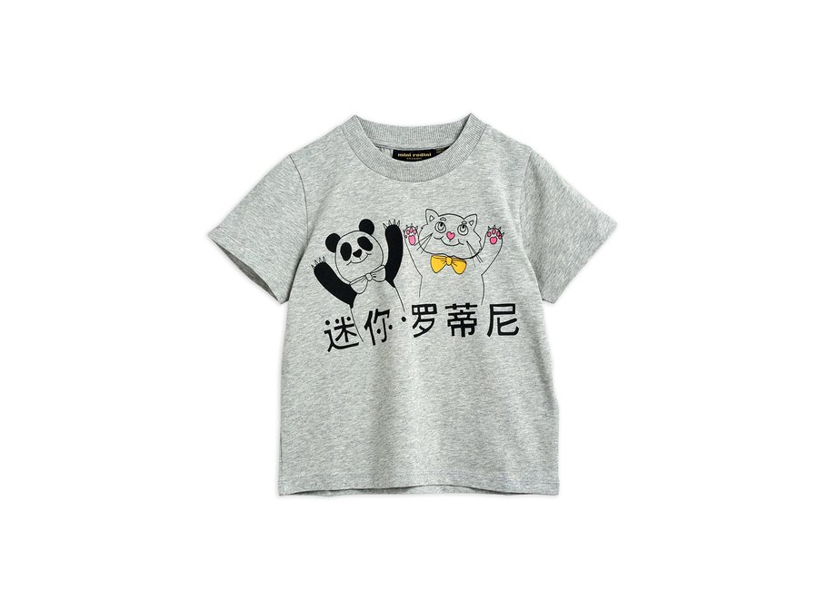 Cat And Panda Sp Ss Tee Grey melange