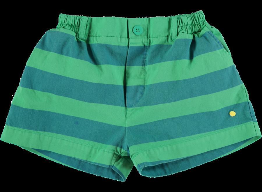 Short Button Wide Stripe Green