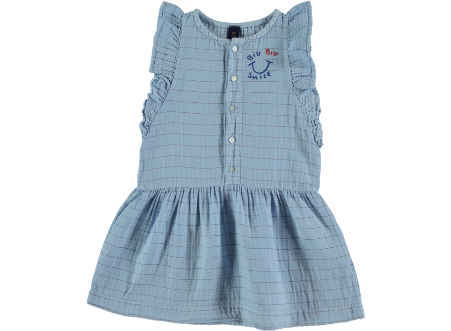 Dress Frill Stripes Smile Light Blue