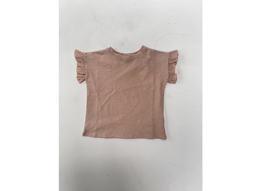 Tee Shirt Organic Flamme Volants Vieux Rose