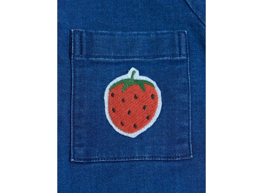 Denim Strawberry Onesie Blue