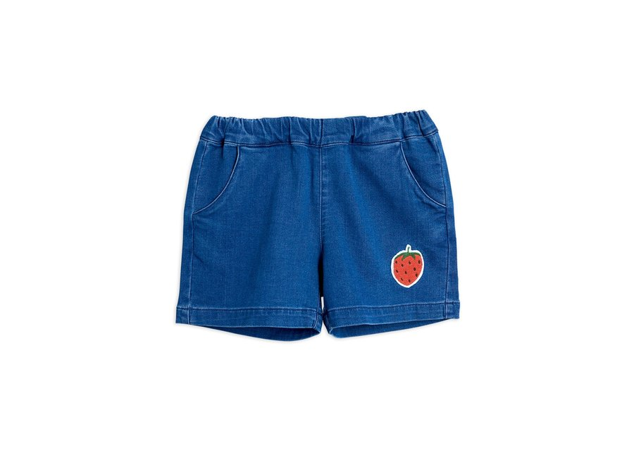 Denim Strawberry Shorts Blue