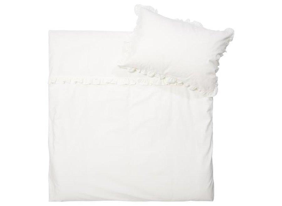 Dekbedovertrek Ruffle warm white
