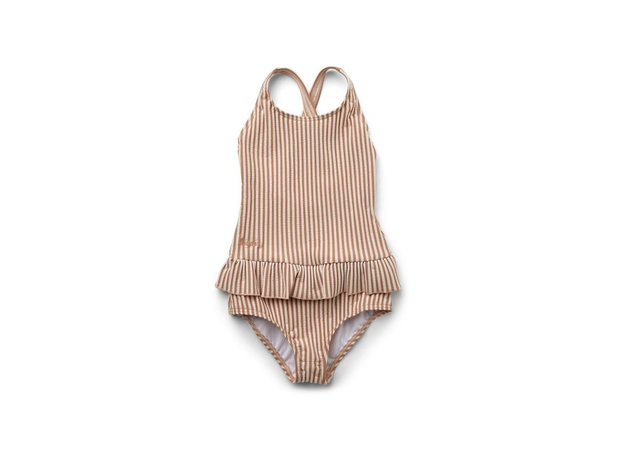 Amara swimsuit seersucker - Y/D Stripe: Tuscany rose/sandy