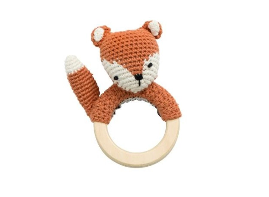 Crochet rattle, Sparky the fox, fox tail red