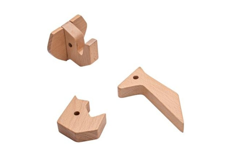 Wooden wall hooks, Rhino & Friends