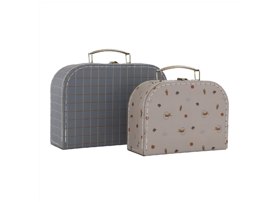 MINI SUITCASE TIGER & GRID - SET OF 2 - BLUE / CLAY
