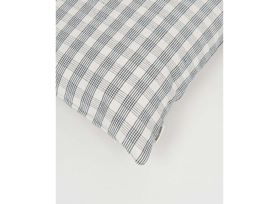 Cot/Lin Pillow - Creme Grid