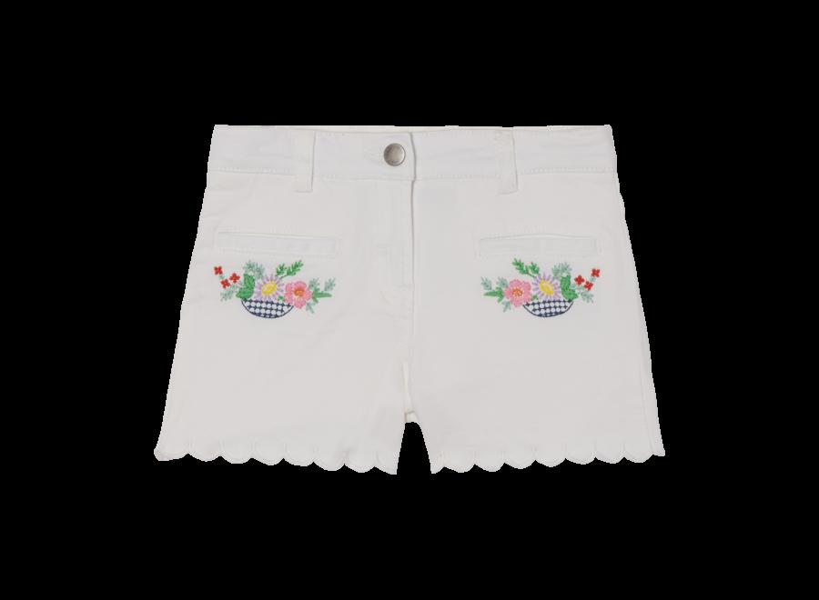 Denim Shorts W/Flowers Emb Pure White
