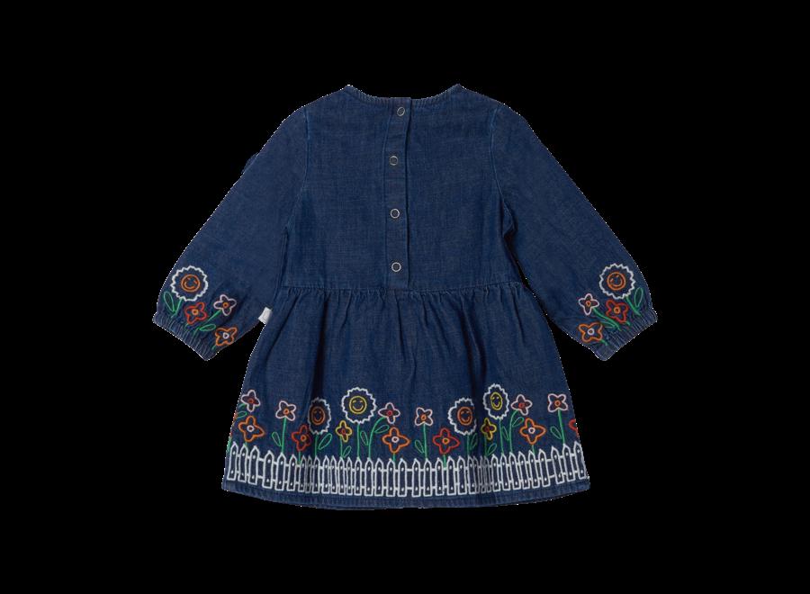Denim Dress W/Garden Embro Denim Dark