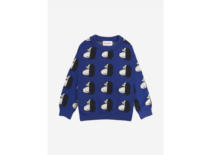 Doggie All Over knitted jumper Royal Blue