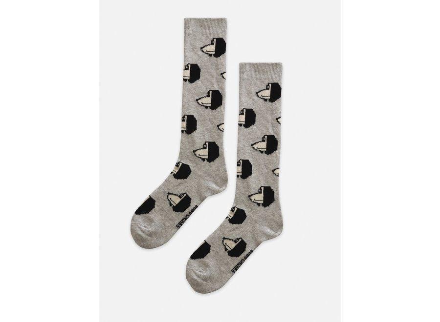 Doggie All Over long socks Gray Violet